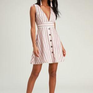 Shayden Tan Multi Striped Mini Dress